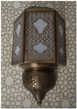 Set of 2 Handcrafted Moroccan Middle Eastern Brass Wall Lamp Sconce Light