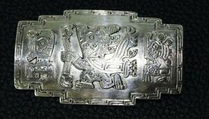 ANCIENNE BROCHE EN ARGENT 800 INCA MAYA