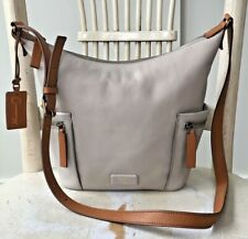 FOSSIL EMERSON Cement Tan Colorblock Leather Crossbody Shoulder Bag Messenger