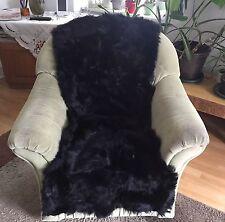È CADUTO CORRIDORI PELLICCIA TOSCANA pelle di pecora nero vera Patchwork tappeto