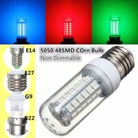 220/240V E27/E14/G9/B22 48SMD 5050 LED Corn Light Bulb Lamp 300lm Red/Blue/Green