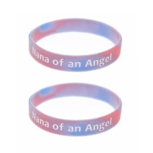 x2 Nana of an Angel Wristband Silicone Bracelet Wristbands Child Baby Loss Nanna
