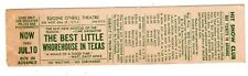 vintage EUGENE O'NEILL THEATRE TICKET NYC - THE BEST LITTLE WHOREHOUSE IN TEXAS