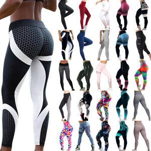Womens Yoga Pants Fitness Gym High Waist Leggings Running Joggers Sport Trousers