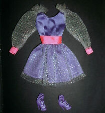 Barbie, My Scene doll clothes: purple dress, silvery sleeves & party shoes