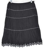 Allison Taylor Boho Black White Stripes & Scalloped Bottom Pleated Skirt Sz M