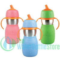 Kid Basix Safe Sippy™ 11oz Stainless Steel Bottle for Toddlers with Straw Handle