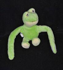 Peluche doudou grenouille CP INTERNATIONAL vert jaune mains scratchées 18cm TTBE