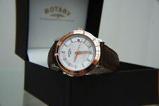 neu rotary rosevergoldet schweizeruhr herren light weight watch rrp £ 160 boxed