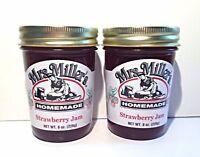 Mrs. Miller's Amish Homemade Strawberry Jam, 8 oz - Pack of 2