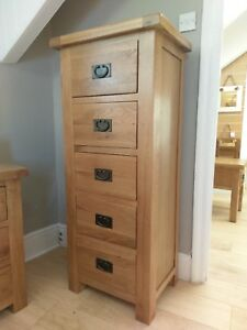 LARGE OAK 5 DRAWER CHEST - TALL NARROW DRAWERS - TALLBOY WELLINGTON - SOLID WOOD