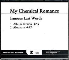 My Chemical Romance Famous Last Words RARE promo CD single w/ alternate '06