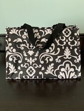 Thirty One Gifts 31 Open Top Canvas Bag Black and White Tote NWOT Mesh Sides