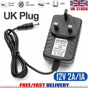 Universal AC/DC 12V 1A/2A Mains Power Supply Adapter Charger Transformer UK