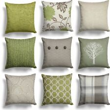 "Green Lime Natural Cream Cushion Covers 18"" x 18"" / 45cm x 45cm Cover Collection"
