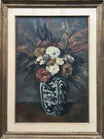 Peinture à L'Huile Nature Morte Fleurs Vase Anonyme Herbstbouquet France ?