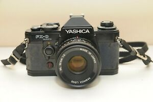 Used Yashica FX-D Quartz SLR Film 35MM Contax CAMERA w/ ML 50mm 1:2 lens