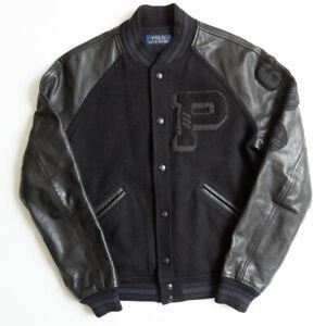 Polo Ralph Lauren Jacket Varsity Leather Wool Rare Size M mens