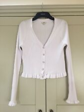 River Island Cropped White Ribbed Cardigan 12/14