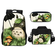 Cute Anime Totoro Bag Set Backpack Thermal Lunch Bag Anime Cosplay Pen Case Bag