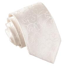 DQT Woven Swirl Patterned Ivory Formal Wedding Mens Classic Tie