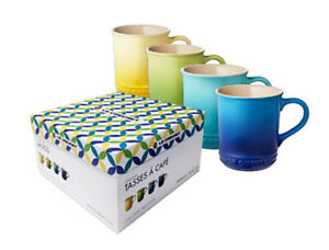 Le Creuset Stoneware Colors Mug Set Collection, Set of 4 -   New w/ Gift Box