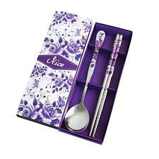 Spoon Chopsticks Set Stainless Steel Korean Rice Chop Sticks Purple Rose Pattern