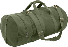 "Olive Drab Canvas Double-Ender Sports Gym Duffle Bag 30"" x 13"""