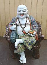 "Famille Rose Buddha Sitting Chair porcelain Statue 10""h x 7""w"