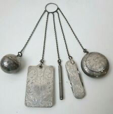 Victorian Sterling Silver Chatelaine Compact, Memoire, Knife, Pencil & Coin Case