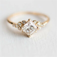 Rings Inlaid Square Diamond Zircon Plated Gold Silver Female Engagement Wedding