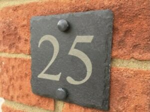 Anthracite Slate Classic House Sign Door Number Street Address Plaque Modern