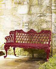 French Victorian Cast Aluminum Long Colonial Rose Garden Bench - Antique Repro.