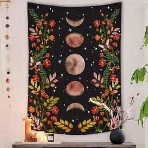Moon Floral Tapestry Mandala Colorful Wall Hanging Boho Bedspread Room Ornament