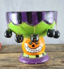 Dept 56 Halloween Candy Bowl *jack-o-lantern *black cats