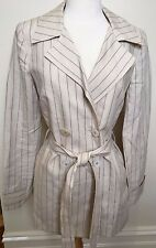 CHARLIE BROWN New Sand Pinstripe Double Breast Belted Ramie Pants Suit Set 12