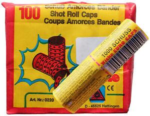 1000 Schuss Papier Amorces Bänder Streifen Amorcesband Zündplättchen zu 10x 100