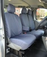 RENAULT TRAFFIC (2001-2014) FULLY Tailored Front Seat Covers VAN 2+1 GREY