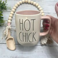 "New Rae Dunn Easter Coffee Mug ""HOT CHICK""  LL White Mug Pink Interior"