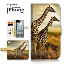 ( For iPhone 5 / 5S ) Wallet Case Cover P21128 Giraffe