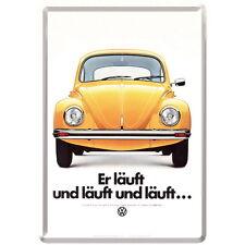 NOSTALGIE Blech Postkarte VW - ER LÄUFT...UND LÄUFT... Volkswagen NEU OVP