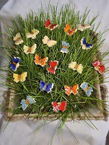 Keramik Blumen Schmetterlinge 20 Stück,  Stecker Muttertag Geschenk Handgemacht