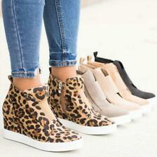 Ladies Canvas Leopard Ankle Boots Casual Women Hidden Wedge Round Toe Zip Shoes
