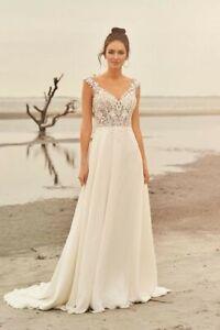 Lillian West wedding dress style 66097 lace/chiffon sample dress ivory/nude