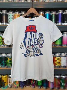 Adidas Mens Medium Mic Man Graffiti Urban Tshirt White Rare Retro Vintage VGC