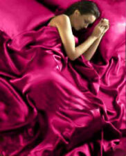 DOUBLE BED SATIN 6 PC DUVET COVER FITTED SHEET FOUR PILLOWCASES FUSCHIA LUXURY