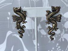 Brass Charm Pierced Earrings Dragon Fashion Vintage Fashion  Gargoyle