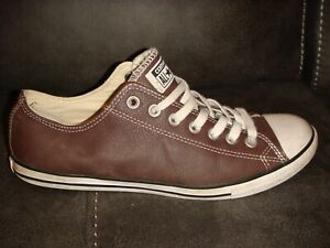 CONVERSE ALL STAR OX LEATHER PUMPS TRAINERS - BROWN - SIZE 8 UK ADULT - K27