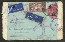 NEW ZELAND 1940 CVR.TO PALESTINA (HAIFA) DOUBLE CENSOR & POSTAL MARKS,W/PERFORAT
