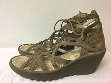 Fly London Wedge light brown suede upper lace up Women Sandals size EUR 41